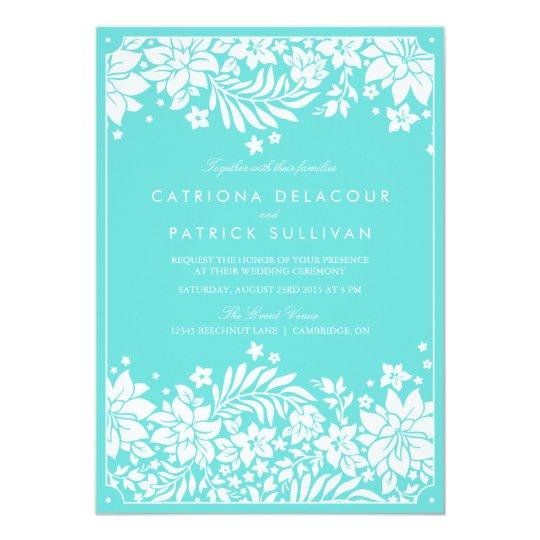 Tiffany Blue Floral Pattern Wedding Invitation – Tiffany Blue Wedding Invitation
