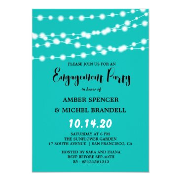 McTiffany Tiffany Aqua Tiffany Blue Glowing String Light Engagement Party Card