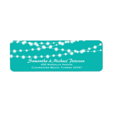 McTiffany Tiffany Aqua Tiffany Blue Glowing String Lights Custom Wedding Label