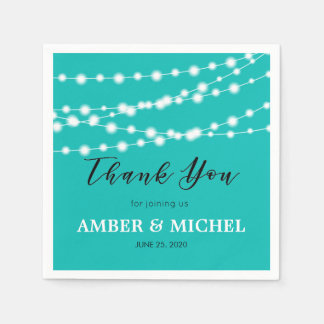 Tiffany Blue Glowing String Lights Custom Wedding Napkin