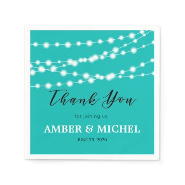 McTiffany Tiffany Aqua Tiffany Blue Glowing String Lights Custom Wedding Napkin