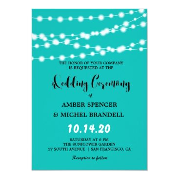 McTiffany Tiffany Aqua Tiffany Blue Glowing String Lights Wedding Invites