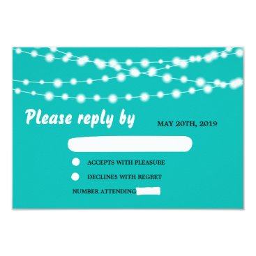 McTiffany Tiffany Aqua Tiffany Blue Glowing String Lights Wedding RSVP Card