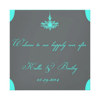 Tiffany Blue & Gray Personalized Canvas - Wedding