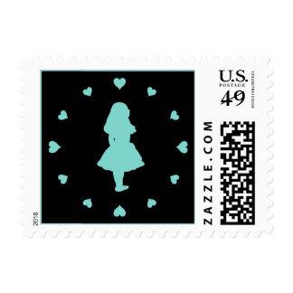 Tiffany Blue Hearts Around Alice Stamp