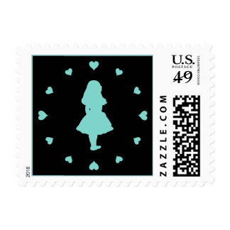 Tiffany Blue Hearts Around Alice Stamp