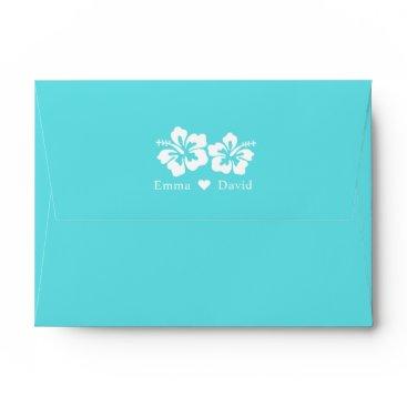 McTiffany Tiffany Aqua Tiffany Blue Hibiscus Flowers Beach Wedding Envelope