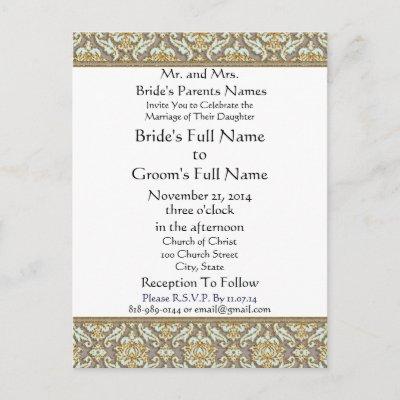 Tiffany Blue lite Damask Grey Wedding Invitation Post Cards by samack