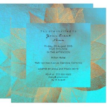 McTiffany Tiffany Aqua Tiffany Blue Metallic Leaf Gold Minimal Shiny Card