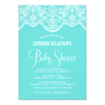 Tiffany Blue Moroccan Lace Baby Shower Invitation
