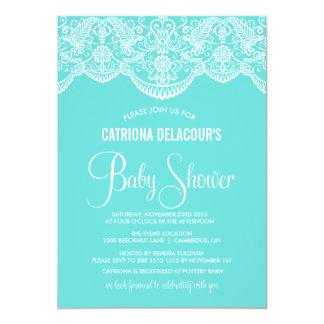 Tiffany Blue Moroccan Lace Baby Shower Invitation