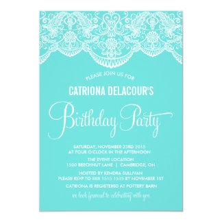 Tiffany Blue Moroccan Lace Birthday Invitation