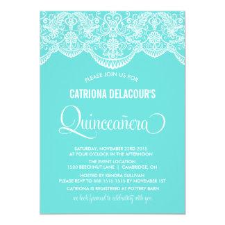 Tiffany Blue Moroccan Lace Quinceañera Invitation
