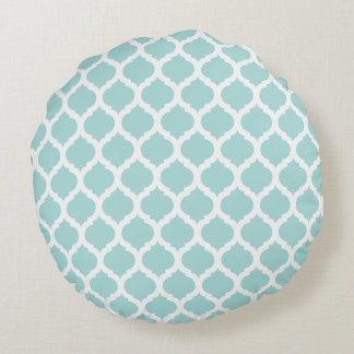 Tiffany Blue Moroccan Pattern Round Pillows Round Pillow