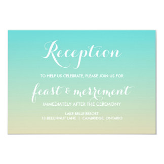Tiffany Blue Ombre Beach Wedding Reception Card