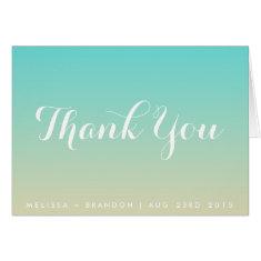 Tiffany Blue Ombre Beach Wedding Thank You Card