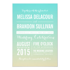 Tiffany Blue Ombre / Gradient Wedding Invitation at Zazzle