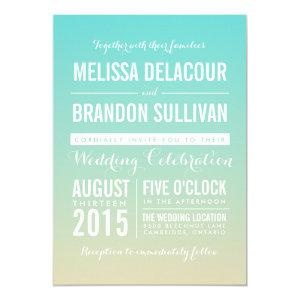 Tiffany Blue Ombre / Gradient Wedding Invitation 5