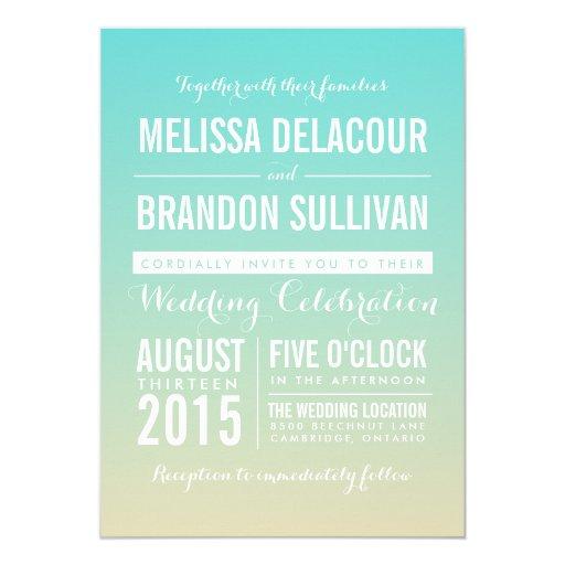 Tiffany Blue Ombre / Gradient Wedding Invitation