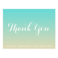 Tiffany Blue Ombre Thank You Postcard
