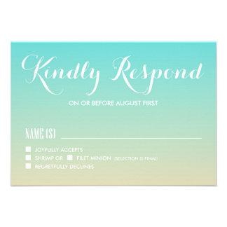 Tiffany Blue Ombre Wedding RSVP Card II