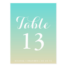 Tiffany Blue Ombre Wedding Table Number Postcard at Zazzle