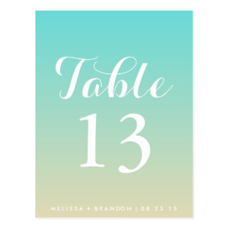 Tiffany Blue Ombre Wedding Table Number Postcard