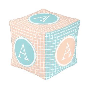 McTiffany Tiffany Aqua Tiffany Blue & Peach Spun Polyester Cubed Pouf