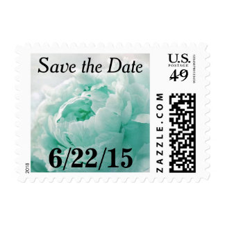 Tiffany Blue Peony Save The Date Postage Stamps