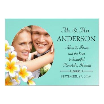 McTiffany Tiffany Aqua Tiffany Blue Plumeria Your Photo Custom Invitation