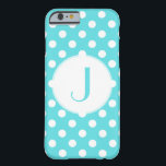 """Tiffany Blue Polka-Dot Monogrammed iPhone 6 Case<br><div class=""""desc"""">Classic Tiffany Blue and White Polka-Dots grace this iPhone 6 Case. This design also gives you the option to easily add the monogram of your choice.</div>"""