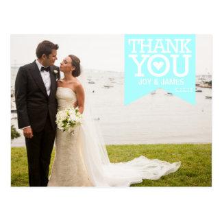 Tiffany Blue Ribbon Thank You Wedding Postcard
