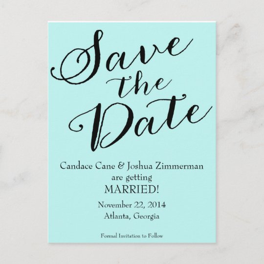 Tiffany Blue Save The Date Announcement Postcard