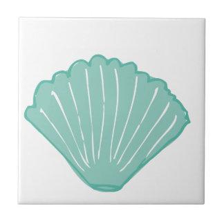 Tiffany Blue Seashell Illustration Ceramic Tile