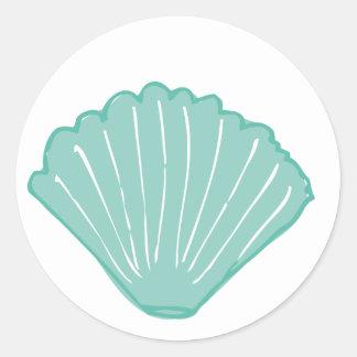 Tiffany Blue Seashell Illustration Classic Round Sticker