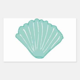 Tiffany Blue Seashell Illustration Rectangular Sticker