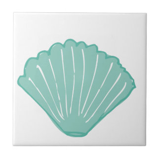 Tiffany Blue Seashell Illustration Small Square Tile