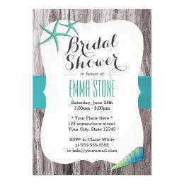 Tiffany Blue Seashells Beach Theme Bridal Shower Card