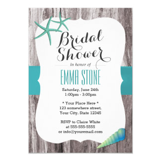 tiffany blue seashells beach theme bridal shower card