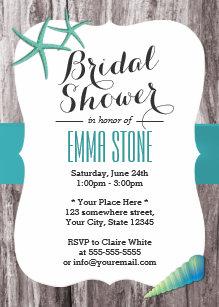 tiffany blue seashells beach theme bridal shower invitation