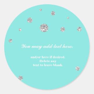 Tiffany Blue & Silver Glitter Modern Dots Sticker