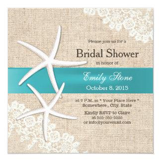Tiffany Blue Starfish Lace & Burlap Bridal Shower Card