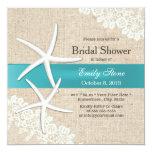 Tiffany Blue Starfish Lace & Burlap Bridal Shower Invitation