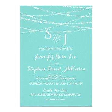 McTiffany Tiffany Aqua Tiffany Blue String Lights Monogram Modern Wedding Card