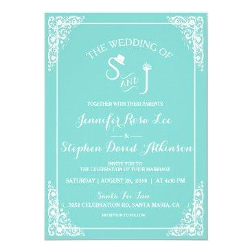McTiffany Tiffany Aqua Tiffany Blue Top Hat Tiara Monogram Modern Wedding Card