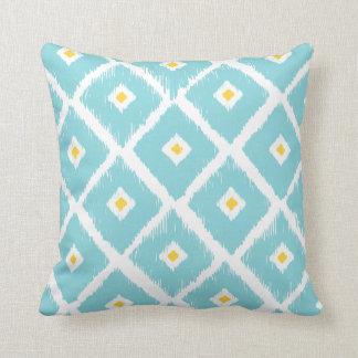 Tiffany Blue Tribal Ikat Diamond Pattern Pillow