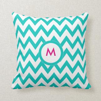 Tiffany blue turquoise chevron pillow- monogram it throw pillows