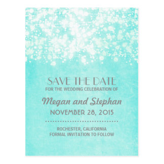 tiffany blue vintage string lights save the date postcard