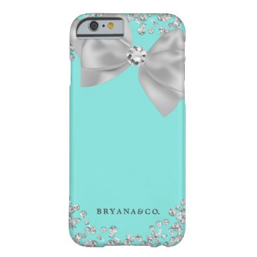 McTiffany Tiffany Aqua Tiffany Blue & White Bling Bow Glamour Glam Custom Barely There iPhone 6 Case