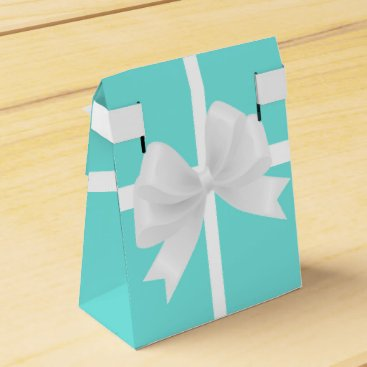 Beach Themed Tiffany Blue & White Bow Elegant Party Favor Boxes